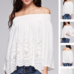 Off Shoulder Crochet Lace Blouse from Love Stitch